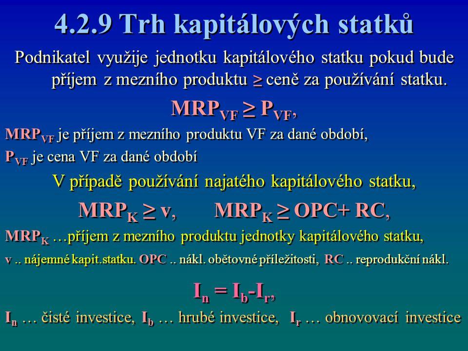 4.2.9 Trh kapitálových statků Podnikatel využije jednotku kapitálového statku pokud bude příjem z mezního produktu ≥ ceně za používání statku. MRP VF