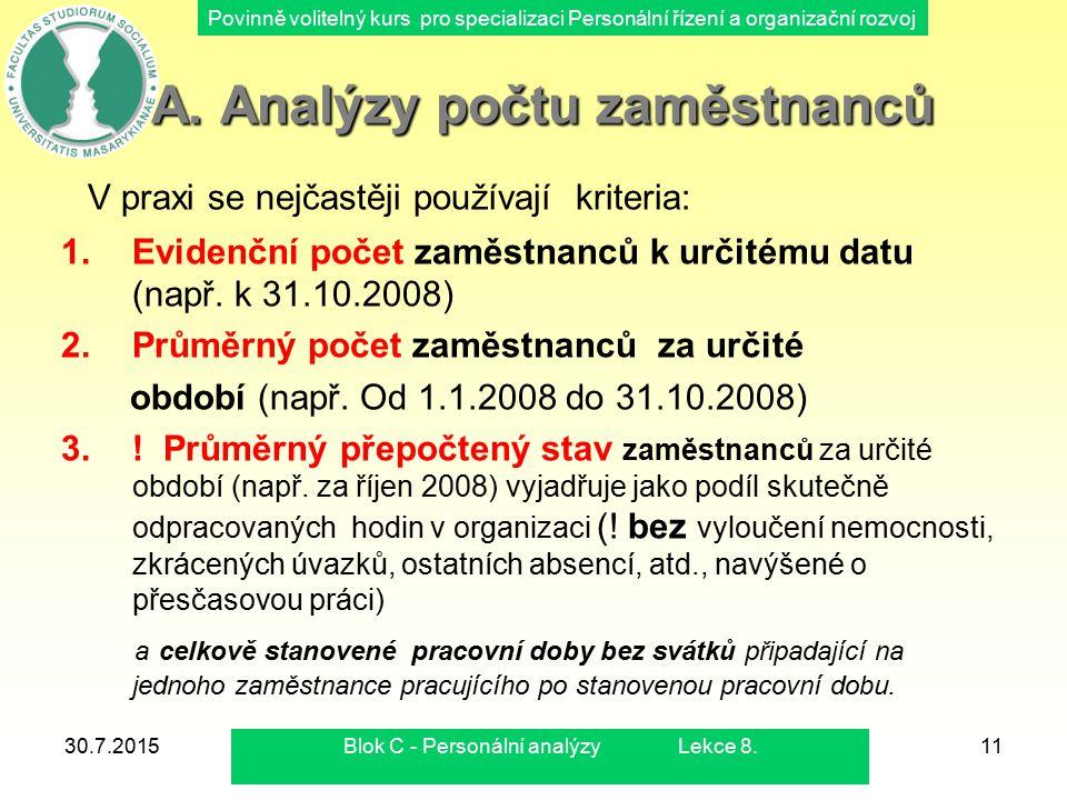 Povinně volitelný kurs pro specializaci Personální řízení a organizační rozvoj 30.7.2015Blok C - Personální analýzy Lekce 8.11 A. Analýzy počtu zaměst