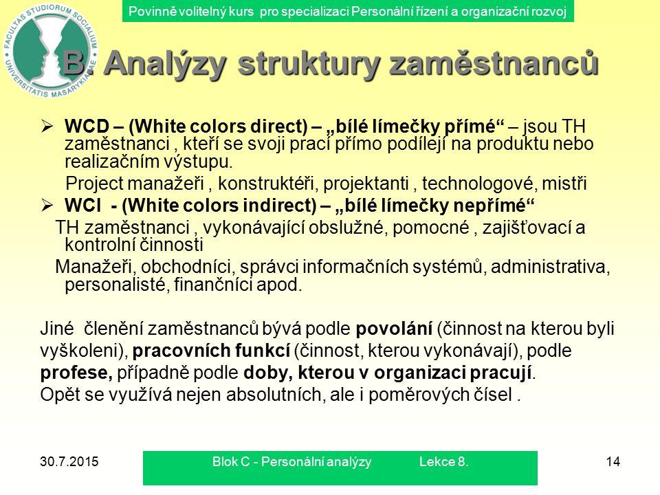 Povinně volitelný kurs pro specializaci Personální řízení a organizační rozvoj 30.7.2015Blok C - Personální analýzy Lekce 8.14 B. Analýzy struktury za