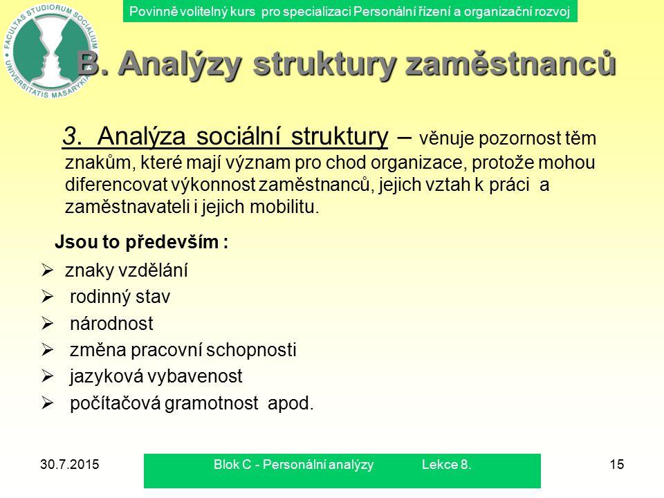 Povinně volitelný kurs pro specializaci Personální řízení a organizační rozvoj 30.7.2015Blok C - Personální analýzy Lekce 8.15 B. Analýzy struktury za