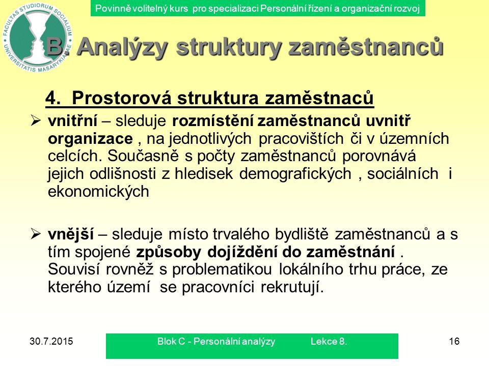 Povinně volitelný kurs pro specializaci Personální řízení a organizační rozvoj 30.7.2015Blok C - Personální analýzy Lekce 8.16 B. Analýzy struktury za