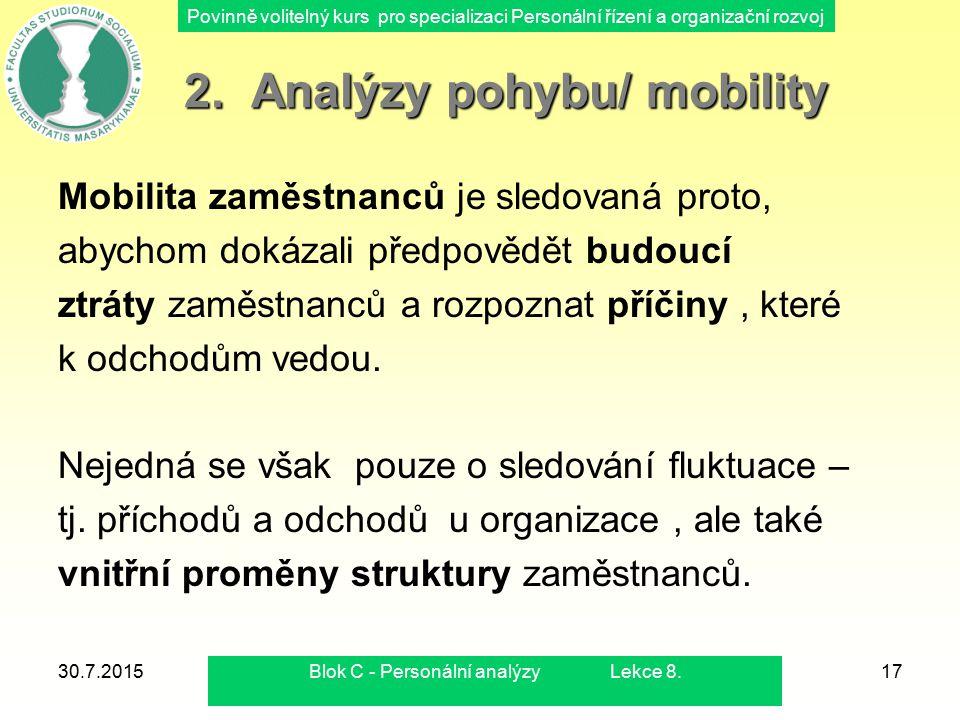 Povinně volitelný kurs pro specializaci Personální řízení a organizační rozvoj 30.7.2015Blok C - Personální analýzy Lekce 8.18 Analýzy vnější mobility Analýzy vnější mobility Analýzy vnější mobility využívají různých ukazatelů a indexů, obdobných jaké jsou využívány v demografické statistice.