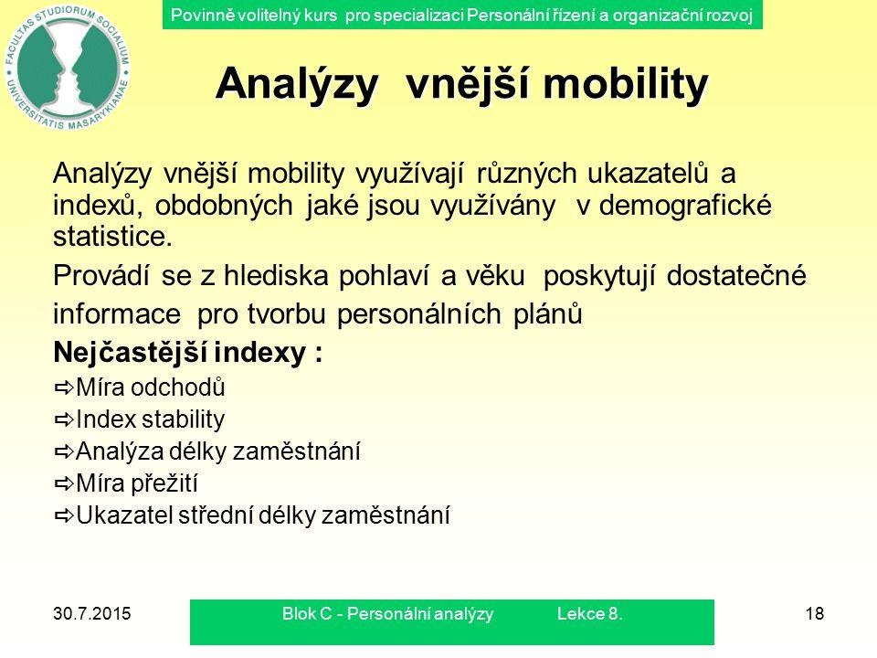 Povinně volitelný kurs pro specializaci Personální řízení a organizační rozvoj 30.7.2015Blok C - Personální analýzy Lekce 8.18 Analýzy vnější mobility