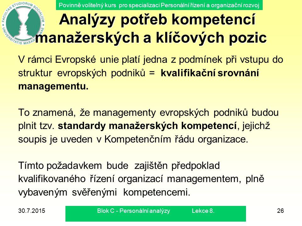 Povinně volitelný kurs pro specializaci Personální řízení a organizační rozvoj 30.7.2015Blok C - Personální analýzy Lekce 8.26 Analýzy potřeb kompeten