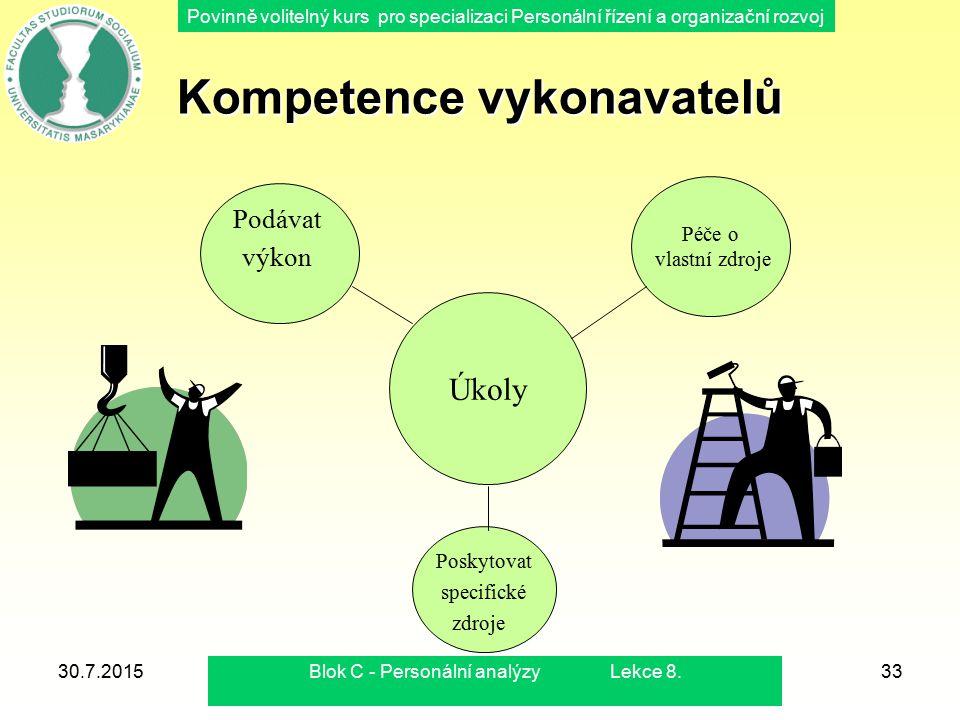 """Povinně volitelný kurs pro specializaci Personální řízení a organizační rozvoj 30.7.2015Blok C - Personální analýzy Lekce 8.34 Kompetence vykonavatelů Mění bezprostředně vstupy na výstupy Jsou nositelé speciálních zdrojů dovedností (odbornosti) Musí mít schopnost porozumět zadání Při neakceptování zadání musí provádět rozhodovací proces (vyjádřit nesouhlas nebo raději mlčet ?) Musí mít schopnost """"prodat vlastní řešení"""