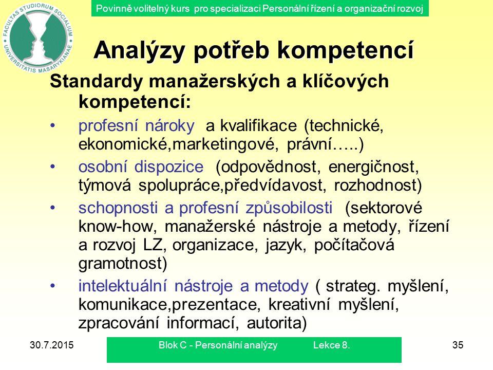 Povinně volitelný kurs pro specializaci Personální řízení a organizační rozvoj 30.7.2015Blok C - Personální analýzy Lekce 8.35 Analýzy potřeb kompeten