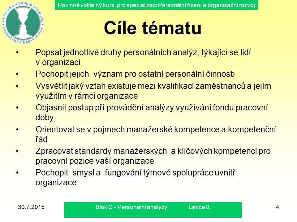 Povinně volitelný kurs pro specializaci Personální řízení a organizační rozvoj 30.7.2015Blok C - Personální analýzy Lekce 8.4 Cíle tématu Cíle tématu