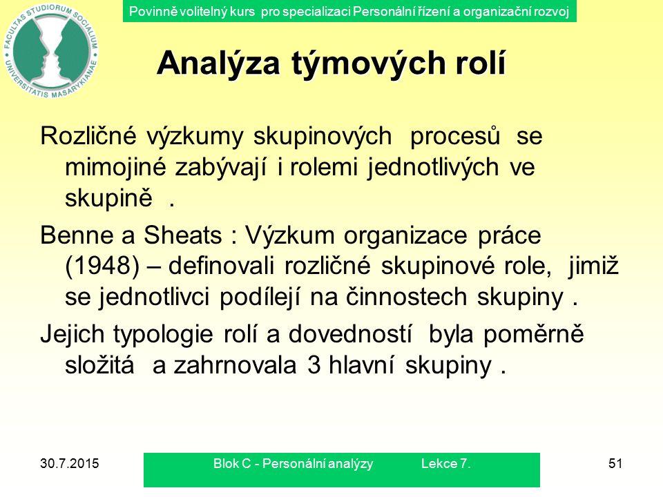 Povinně volitelný kurs pro specializaci Personální řízení a organizační rozvoj 30.7.2015Blok C - Personální analýzy Lekce 7.51 Analýza týmových rolí R