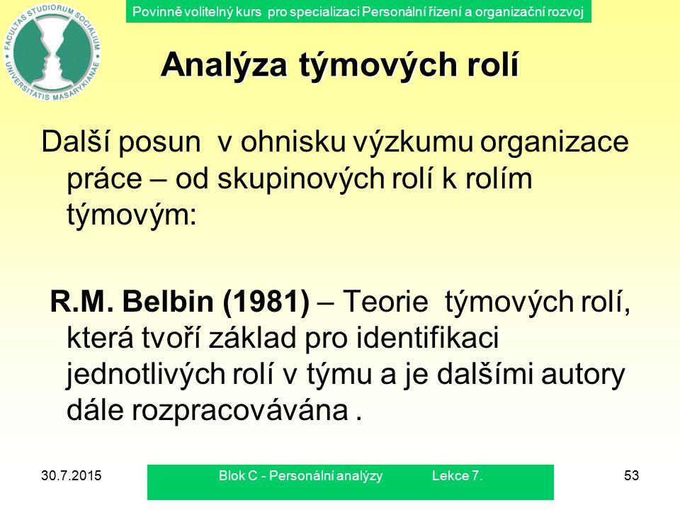 Povinně volitelný kurs pro specializaci Personální řízení a organizační rozvoj 30.7.2015Blok C - Personální analýzy Lekce 7.53 Analýza týmových rolí D