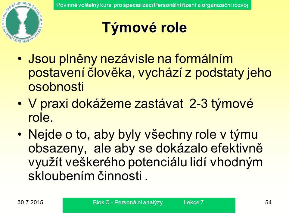 Povinně volitelný kurs pro specializaci Personální řízení a organizační rozvoj 30.7.2015Blok C - Personální analýzy Lekce 7.54 Týmové role Jsou plněny