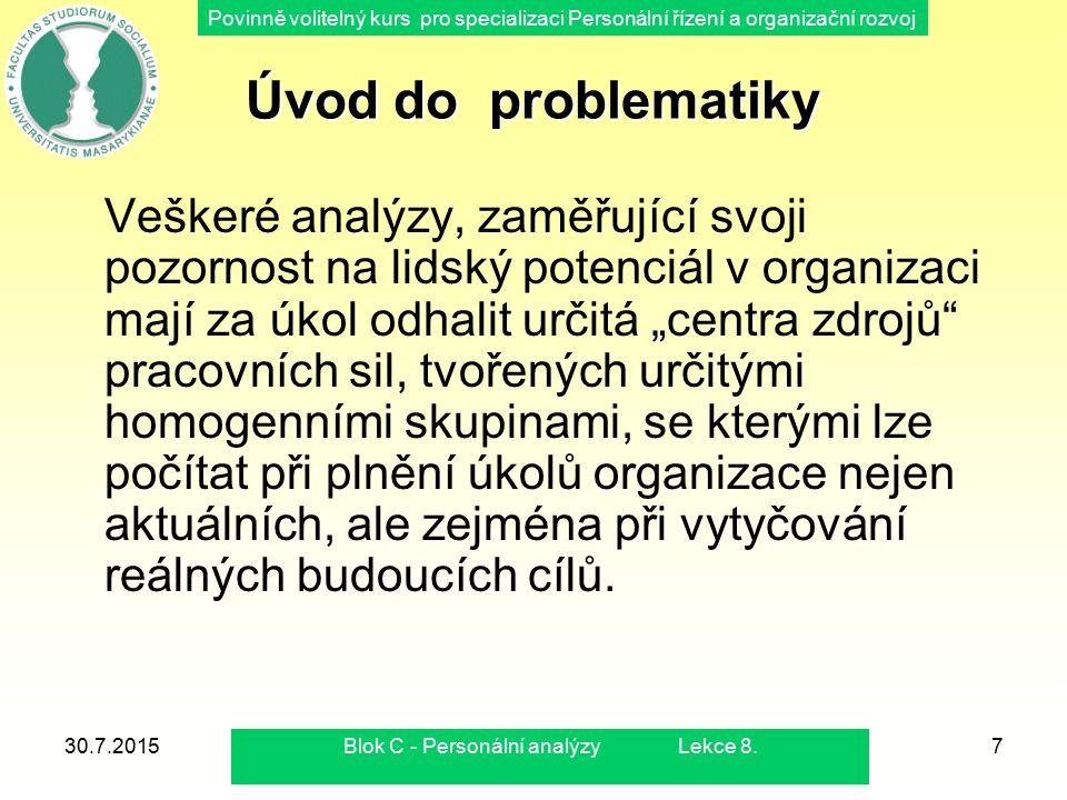 Povinně volitelný kurs pro specializaci Personální řízení a organizační rozvoj 30.7.2015Blok C - Personální analýzy Lekce 8.7 Úvod do problematiky Veš