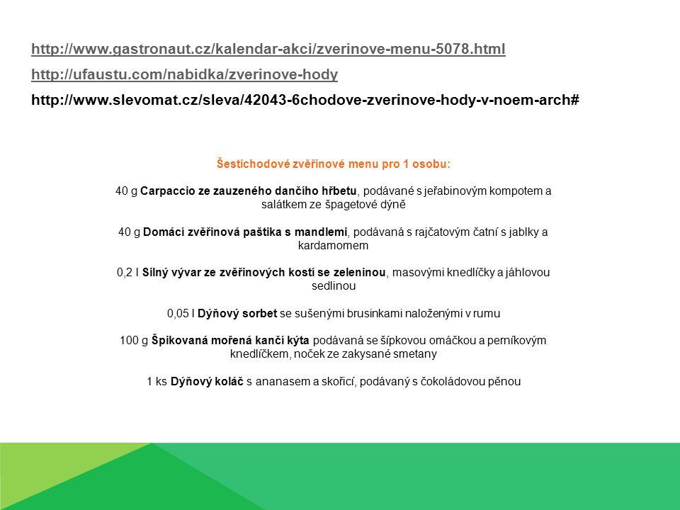 http://www.gastronaut.cz/kalendar-akci/zverinove-menu-5078.html http://ufaustu.com/nabidka/zverinove-hody http://www.slevomat.cz/sleva/42043-6chodove-