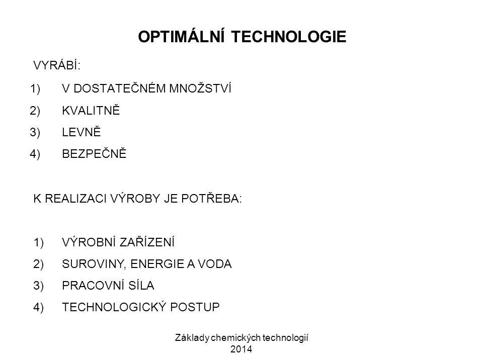 Základy chemických technologií 2014 OPTIMÁLNÍ TECHNOLOGIE 1)V DOSTATEČNÉM MNOŽSTVÍ 2)KVALITNĚ 3)LEVNĚ 4)BEZPEČNĚ VYRÁBÍ: K REALIZACI VÝROBY JE POTŘEBA: 1)VÝROBNÍ ZAŘÍZENÍ 2)SUROVINY, ENERGIE A VODA 3)PRACOVNÍ SÍLA 4)TECHNOLOGICKÝ POSTUP