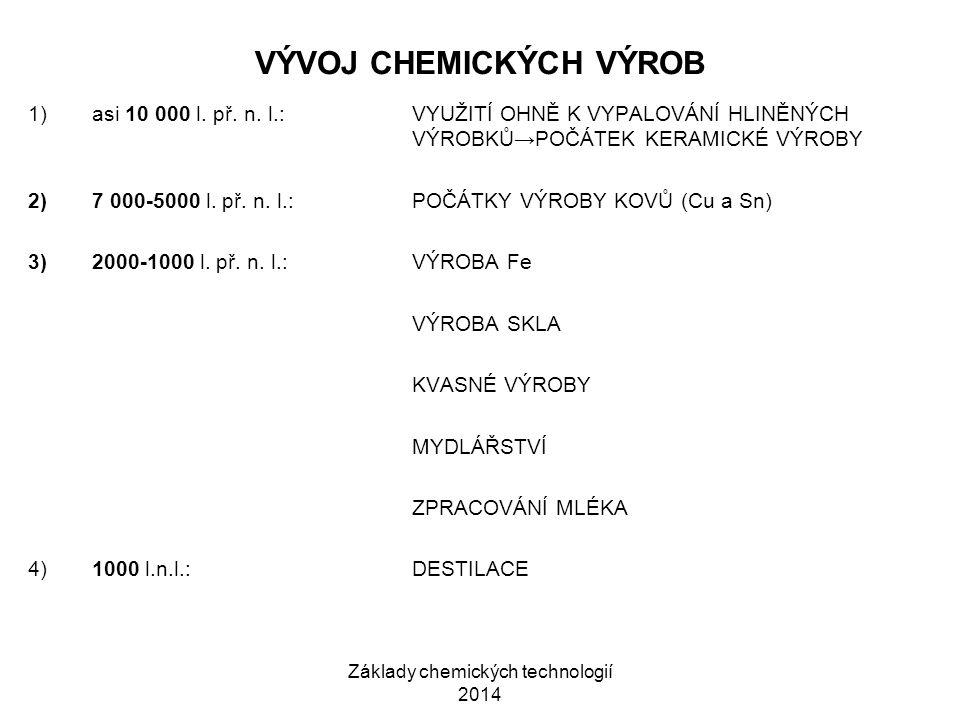 Základy chemických technologií 2014 VÝVOJ CHEMICKÝCH VÝROB 1)asi 10 000 l. př. n. l.:VYUŽITÍ OHNĚ K VYPALOVÁNÍ HLINĚNÝCH VÝROBKŮ→POČÁTEK KERAMICKÉ VÝR