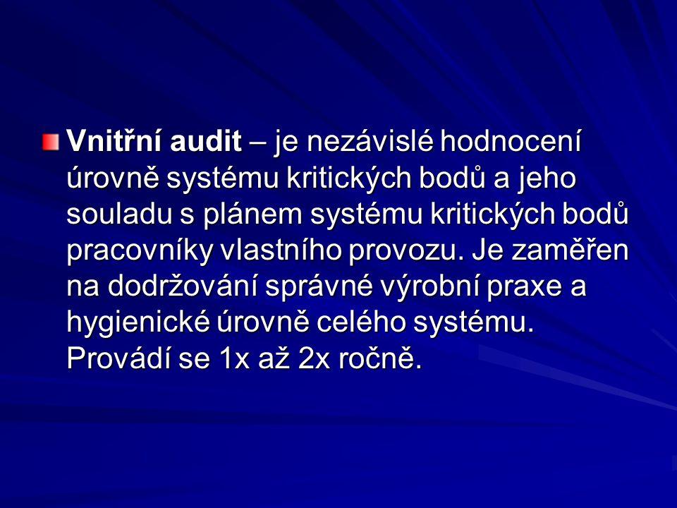 Vnitřní audit – je nezávislé hodnocení úrovně systému kritických bodů a jeho souladu s plánem systému kritických bodů pracovníky vlastního provozu. Je