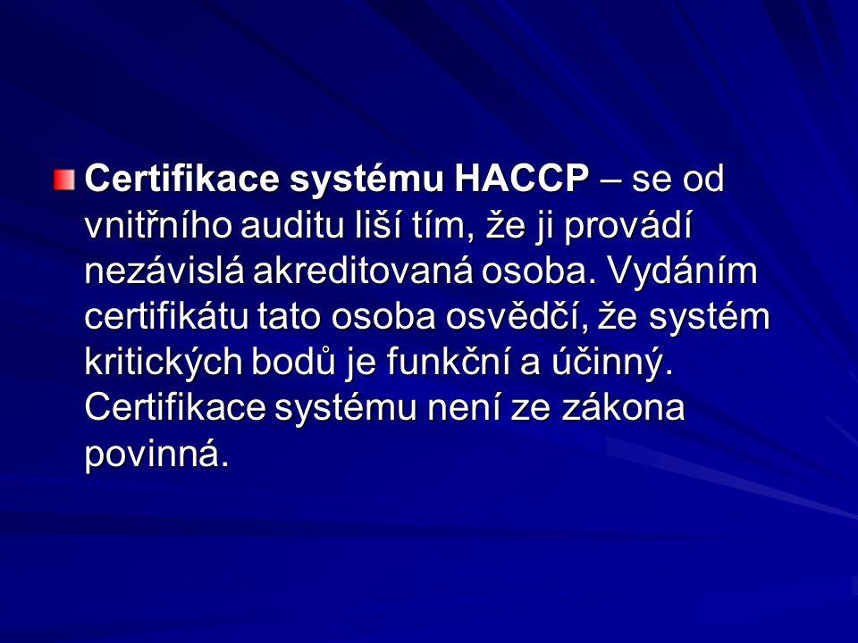 Certifikace systému HACCP – se od vnitřního auditu liší tím, že ji provádí nezávislá akreditovaná osoba. Vydáním certifikátu tato osoba osvědčí, že sy