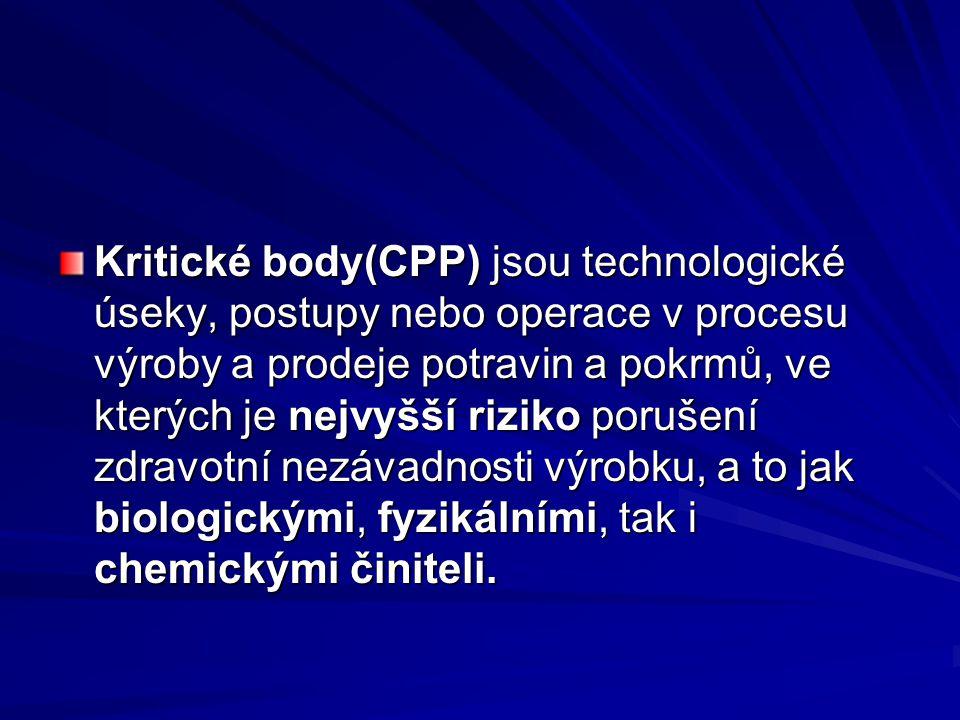 Kritické body(CPP) jsou technologické úseky, postupy nebo operace v procesu výroby a prodeje potravin a pokrmů, ve kterých je nejvyšší riziko porušení