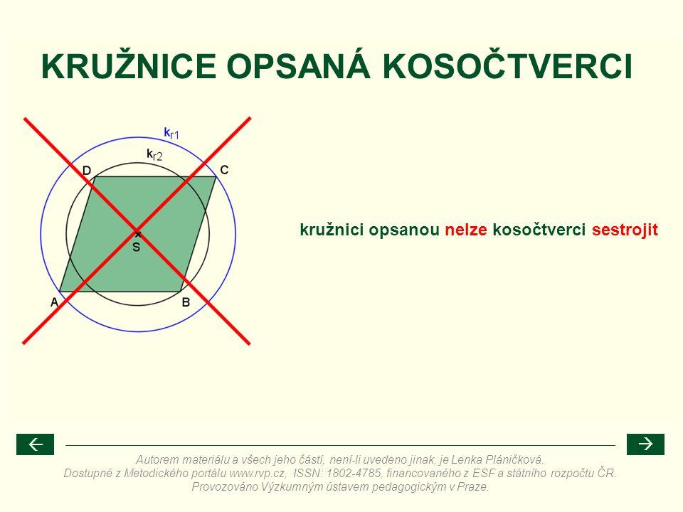 KRUŽNICE OPSANÁ KOSOČTVERCI kružnici opsanou nelze kosočtverci sestrojit Autorem materiálu a všech jeho částí, není-li uvedeno jinak, je Lenka Pláničk