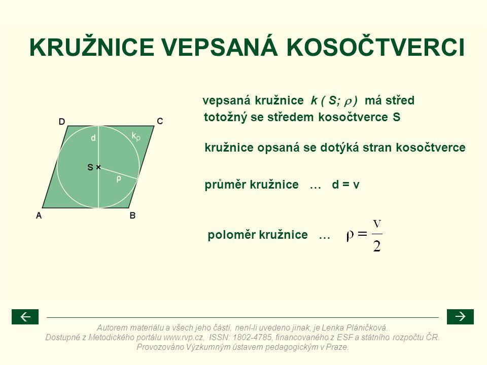 poloměr kružnice … KRUŽNICE VEPSANÁ KOSOČTVERCI vepsaná kružnice k ( S;  ) má střed kružnice opsaná se dotýká stran kosočtverce průměr kružnice … d =