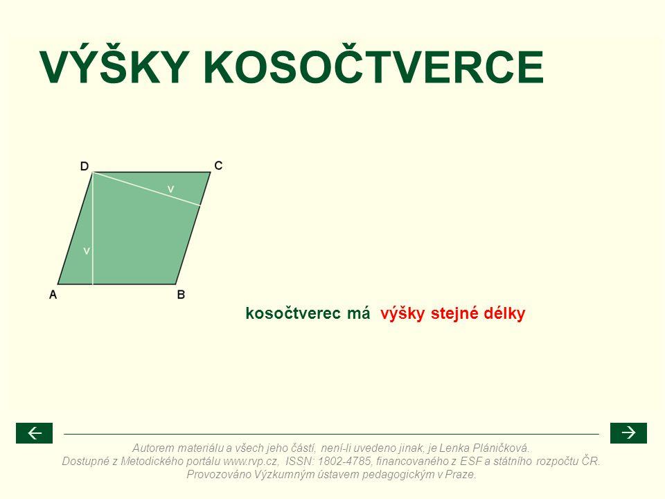 VÝŠKY KOSOČTVERCE kosočtverec má výšky stejné délky Autorem materiálu a všech jeho částí, není-li uvedeno jinak, je Lenka Pláničková. Dostupné z Metod