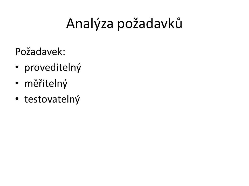 Analýza požadavků Požadavek: proveditelný měřitelný testovatelný