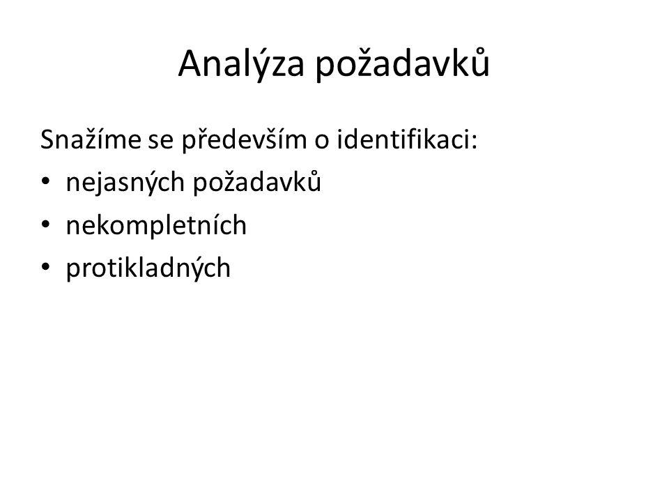 Analýza požadavků Snažíme se především o identifikaci: nejasných požadavků nekompletních protikladných