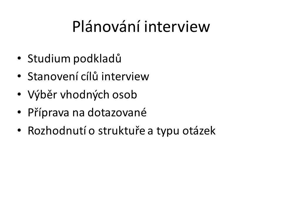 Plánování interview Studium podkladů Stanovení cílů interview Výběr vhodných osob Příprava na dotazované Rozhodnutí o struktuře a typu otázek