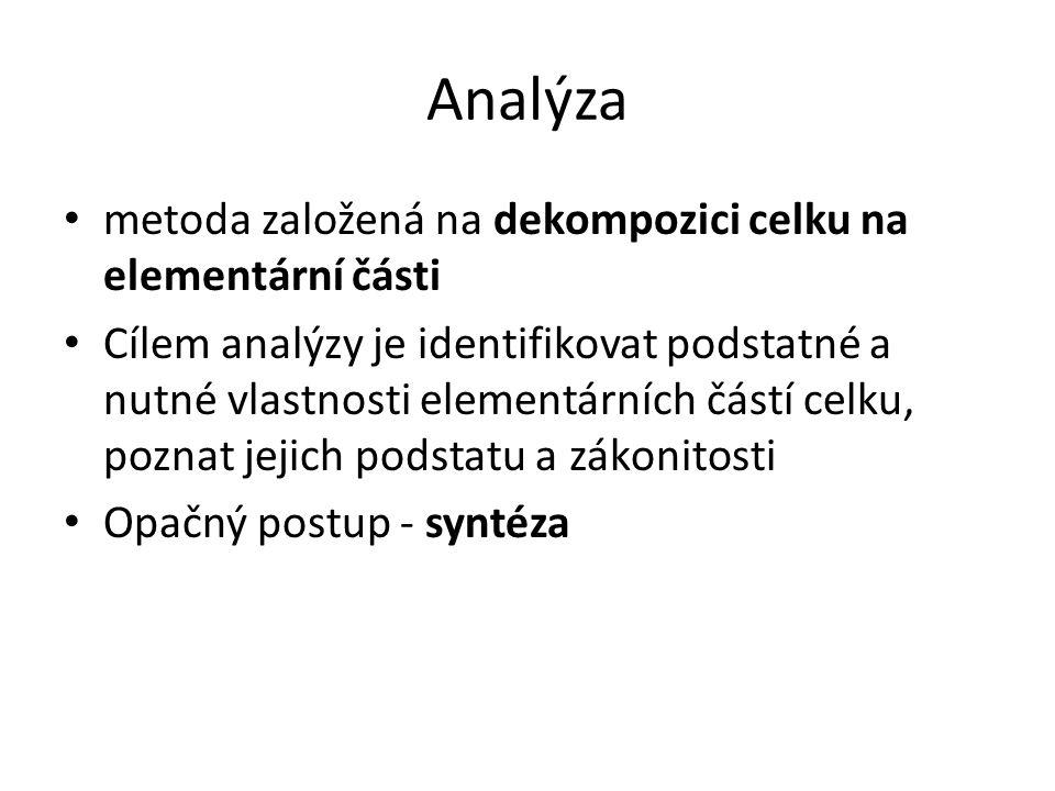 Analýza metoda založená na dekompozici celku na elementární části Cílem analýzy je identifikovat podstatné a nutné vlastnosti elementárních částí celk