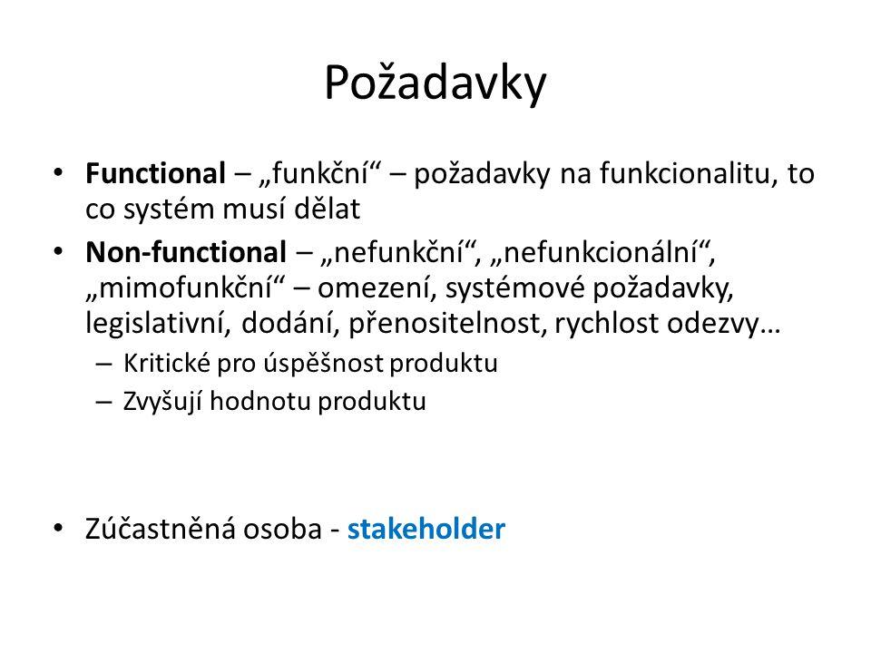 """Požadavky Functional – """"funkční – požadavky na funkcionalitu, to co systém musí dělat Non-functional – """"nefunkční , """"nefunkcionální , """"mimofunkční – omezení, systémové požadavky, legislativní, dodání, přenositelnost, rychlost odezvy… – Kritické pro úspěšnost produktu – Zvyšují hodnotu produktu Zúčastněná osoba - stakeholder"""