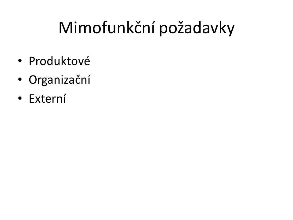 Mimofunkční požadavky Produktové Organizační Externí