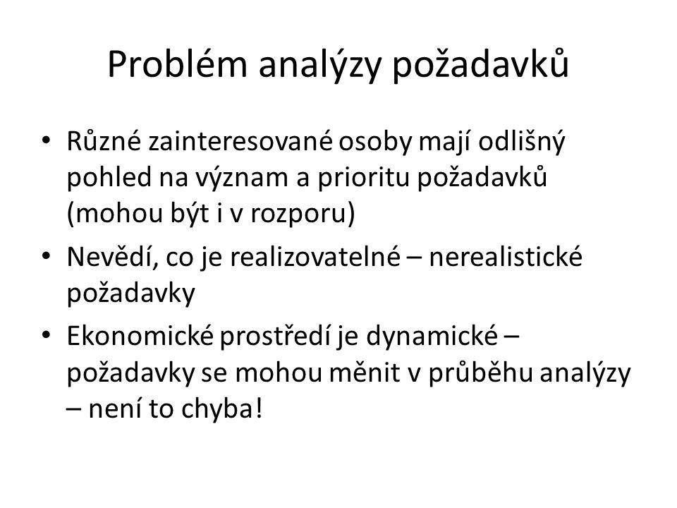 Problém analýzy požadavků Různé zainteresované osoby mají odlišný pohled na význam a prioritu požadavků (mohou být i v rozporu) Nevědí, co je realizovatelné – nerealistické požadavky Ekonomické prostředí je dynamické – požadavky se mohou měnit v průběhu analýzy – není to chyba!