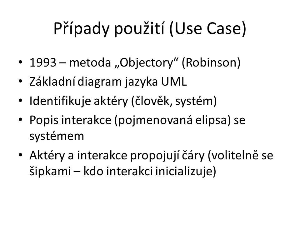 """Případy použití (Use Case) 1993 – metoda """"Objectory (Robinson) Základní diagram jazyka UML Identifikuje aktéry (člověk, systém) Popis interakce (pojmenovaná elipsa) se systémem Aktéry a interakce propojují čáry (volitelně se šipkami – kdo interakci inicializuje)"""