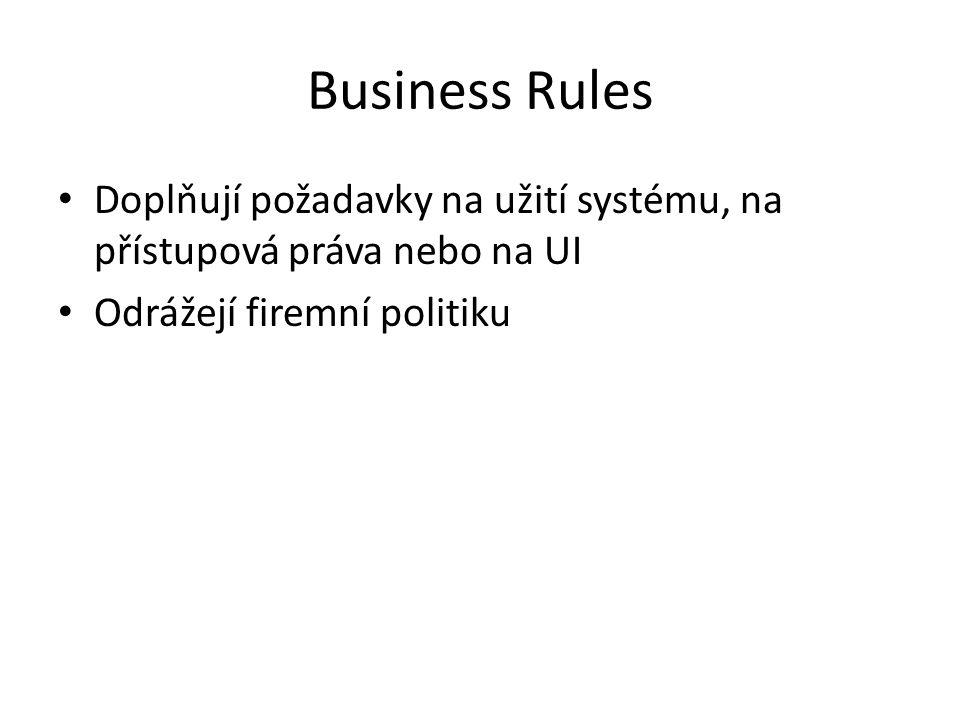 Business Rules Doplňují požadavky na užití systému, na přístupová práva nebo na UI Odrážejí firemní politiku