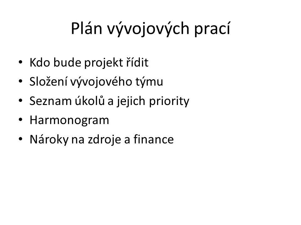 Plán vývojových prací Kdo bude projekt řídit Složení vývojového týmu Seznam úkolů a jejich priority Harmonogram Nároky na zdroje a finance