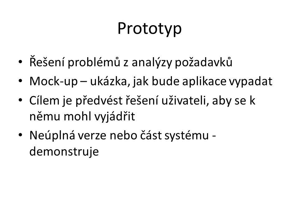Prototyp Řešení problémů z analýzy požadavků Mock-up – ukázka, jak bude aplikace vypadat Cílem je předvést řešení uživateli, aby se k němu mohl vyjádřit Neúplná verze nebo část systému - demonstruje