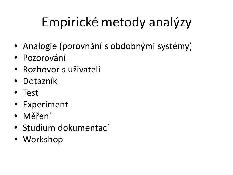 Empirické metody analýzy Analogie (porovnání s obdobnými systémy) Pozorování Rozhovor s uživateli Dotazník Test Experiment Měření Studium dokumentací Workshop