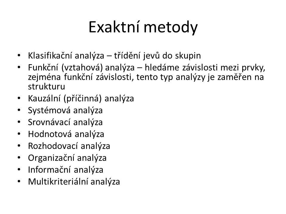Exaktní metody Klasifikační analýza – třídění jevů do skupin Funkční (vztahová) analýza – hledáme závislosti mezi prvky, zejména funkční závislosti, t