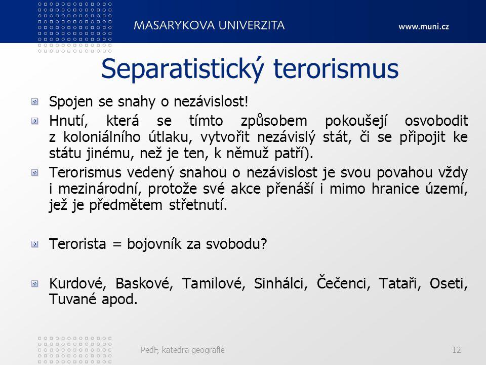 Separatistický terorismus Spojen se snahy o nezávislost! Hnutí, která se tímto způsobem pokoušejí osvobodit z koloniálního útlaku, vytvořit nezávislý