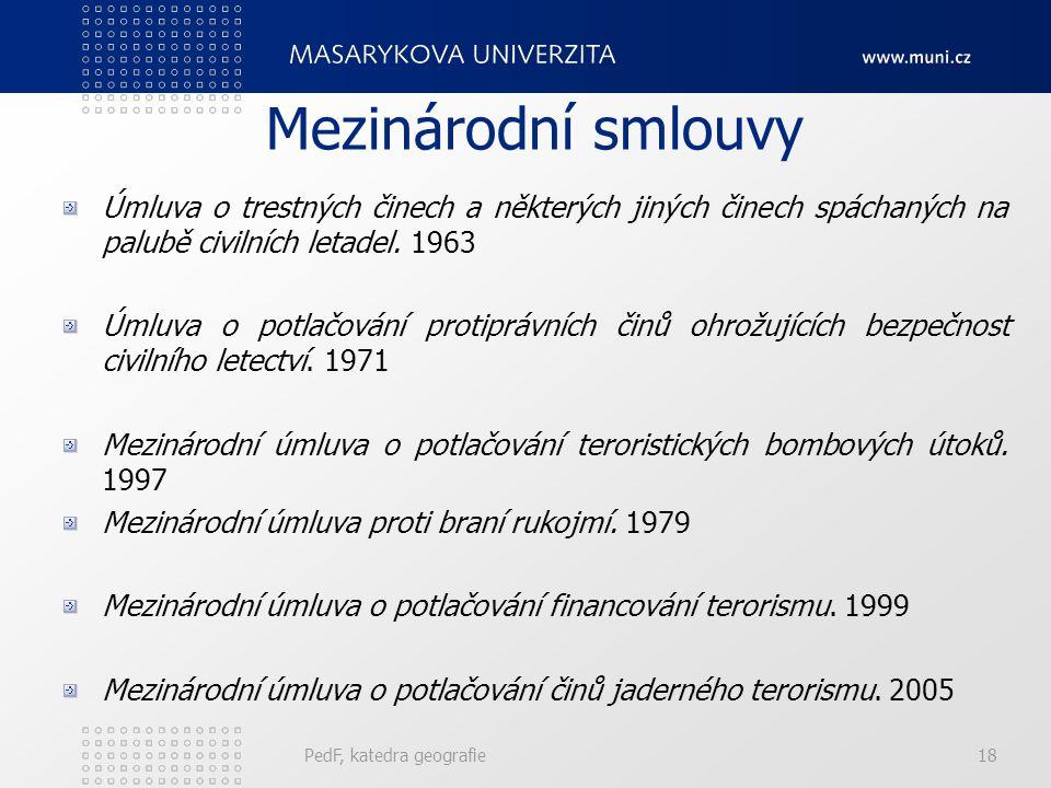 Mezinárodní smlouvy Úmluva o trestných činech a některých jiných činech spáchaných na palubě civilních letadel. 1963 Úmluva o potlačování protiprávníc