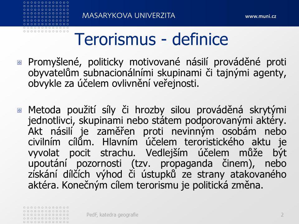 Terorismus - definice Promyšlené, politicky motivované násilí prováděné proti obyvatelům subnacionálními skupinami či tajnými agenty, obvykle za účele