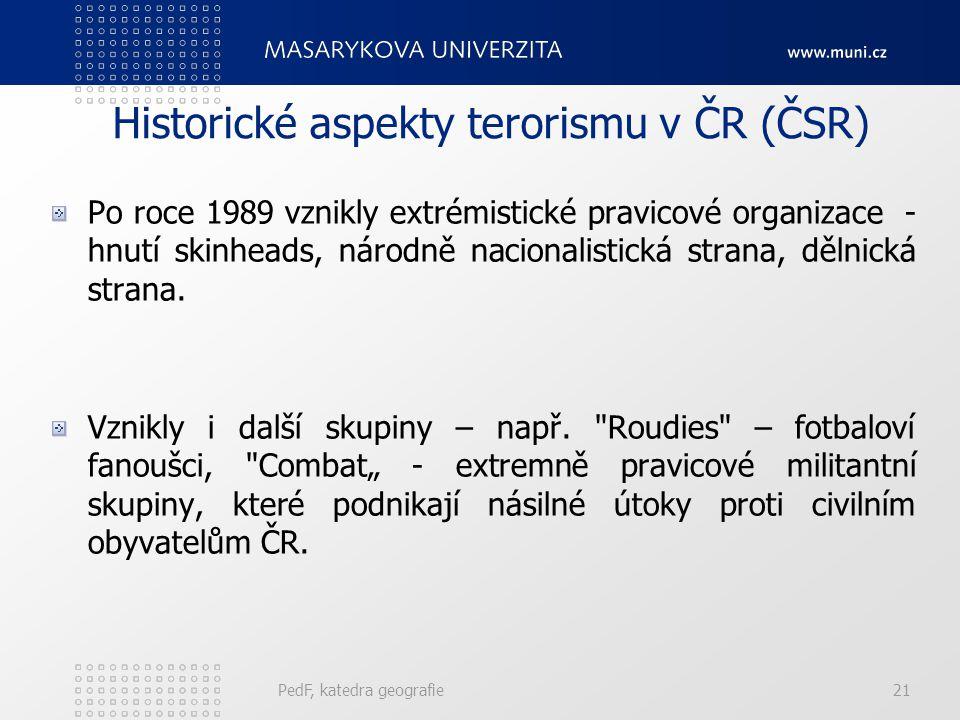 Historické aspekty terorismu v ČR (ČSR) Po roce 1989 vznikly extrémistické pravicové organizace - hnutí skinheads, národně nacionalistická strana, děl