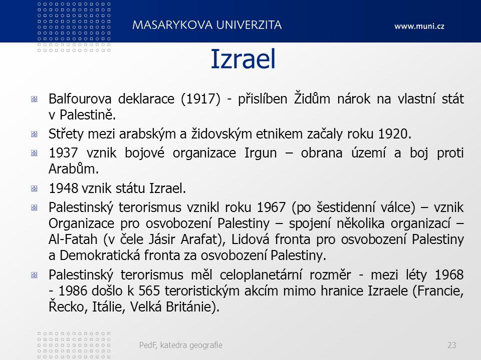 Izrael Balfourova deklarace (1917) - přislíben Židům nárok na vlastní stát v Palestině. Střety mezi arabským a židovským etnikem začaly roku 1920. 193