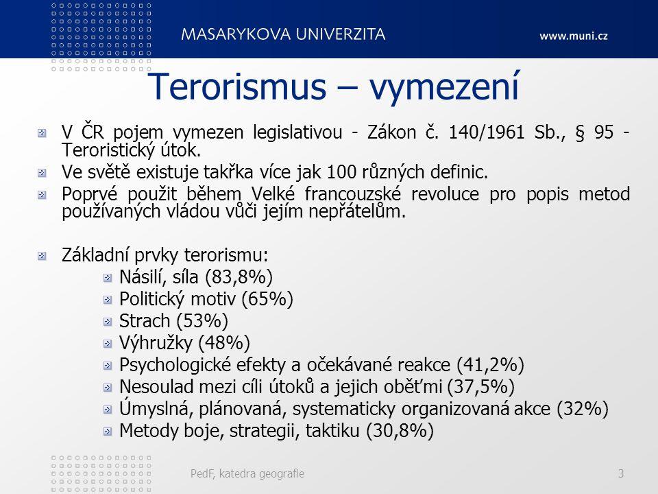 Terorismus – vymezení V ČR pojem vymezen legislativou - Zákon č. 140/1961 Sb., § 95 - Teroristický útok. Ve světě existuje takřka více jak 100 různých