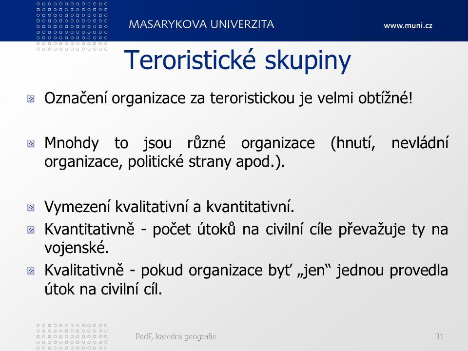 PedF, katedra geografie31 Teroristické skupiny Označení organizace za teroristickou je velmi obtížné! Mnohdy to jsou různé organizace (hnutí, nevládní