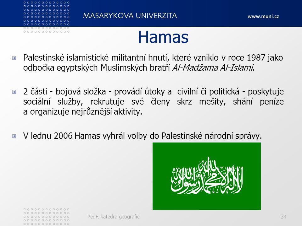Hamas Palestinské islamistické militantní hnutí, které vzniklo v roce 1987 jako odbočka egyptských Muslimských bratří Al-Madžama Al-Islami. 2 části -