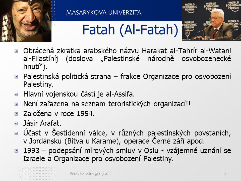 """Fatah (Al-Fatah) Obrácená zkratka arabského názvu Harakat al-Tahrír al-Watani al-Filastíníj (doslova """"Palestinské národně osvobozenecké hnutí""""). Pales"""