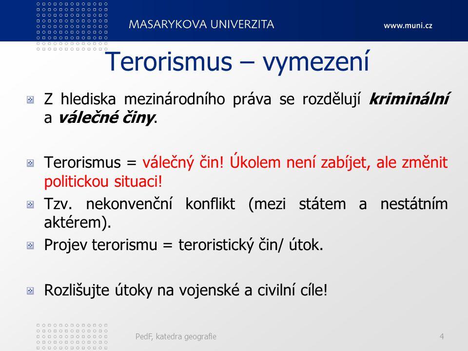 Terorismus – vymezení Z hlediska mezinárodního práva se rozdělují kriminální a válečné činy. Terorismus = válečný čin! Úkolem není zabíjet, ale změnit