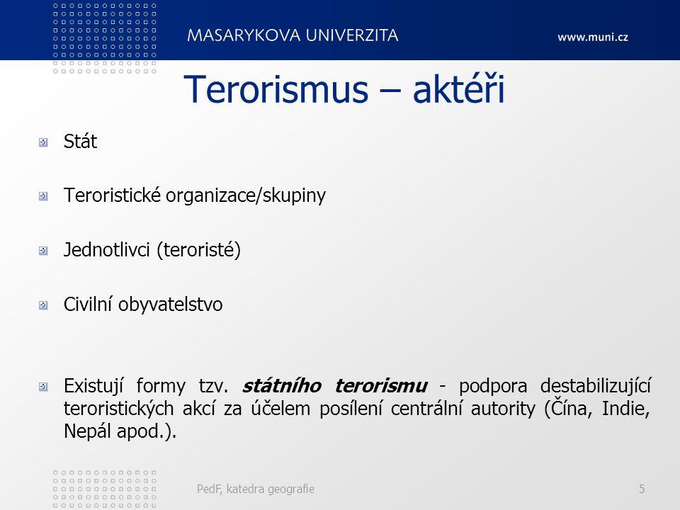 Terorismus – aktéři Stát Teroristické organizace/skupiny Jednotlivci (teroristé) Civilní obyvatelstvo Existují formy tzv. státního terorismu - podpora