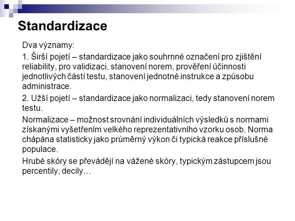 Standardizace Dva významy: 1.