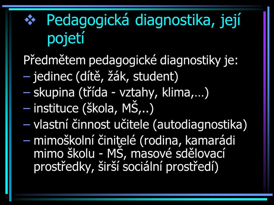  Pedagogická diagnostika, její pojetí Předmětem pedagogické diagnostiky je: –jedinec (dítě, žák, student) –skupina (třída - vztahy, klima,…) –instituce (škola, MŠ,..) –vlastní činnost učitele (autodiagnostika) –mimoškolní činitelé (rodina, kamarádi mimo školu - MŠ, masové sdělovací prostředky, širší sociální prostředí)